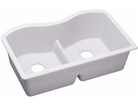 "Elkay Quartz Classic 33"" x 20"" x 9-1/2"", Equal Double Bowl Undermount Sink with Aqua Divide, ELGULB3322"