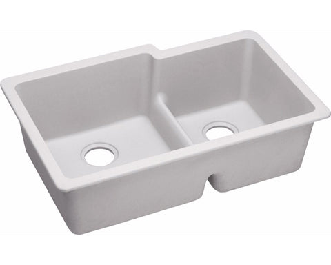"Elkay Quartz Classic 33"", Offset Double Bowl Undermount Sink with Aqua Divide"