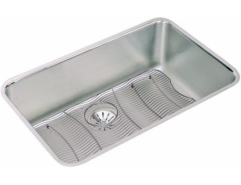 "Elkay Lustertone Stainless Steel 30-1/2"" Single Bowl, Undermount Kitchen Sink Kit with Perfect Drain, ELUH281610PDBG"