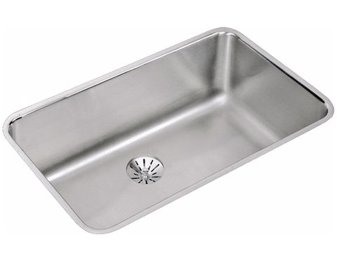"Elkay Lustertone Stainless Steel 30-1/2"", Single Bowl Undermount Kitchen Sink with Perfect Drain, ELUH281610PD"
