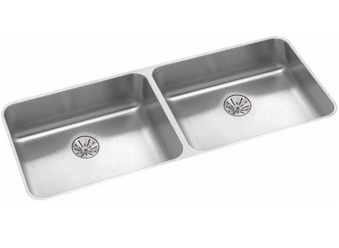 "Elkay Lustertone Stainless Steel 41-3/4"" Equal Double Bowl Undermount ADA Sink w/ Perfect Drain"