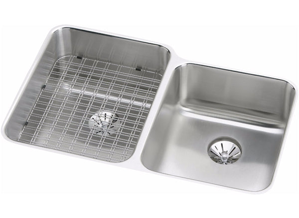"Elkay Gourmet Stainless Steel 31-1/4"", Offset Double Bowl Undermount Sink with Perfect Drain"