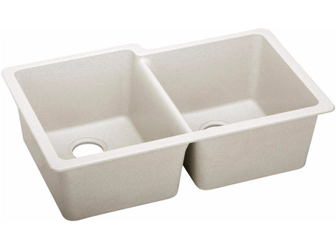 "Elkay Quartz Luxe 33"" x 20-1/2"", Offset Double Bowl Undermount Kitchen Sink, ELXU250R"