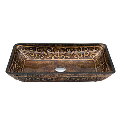 "Dawn 22"" Tempered glass, hand-painted glass vessel sink-retangular shape, Bronze GVB86153-1"