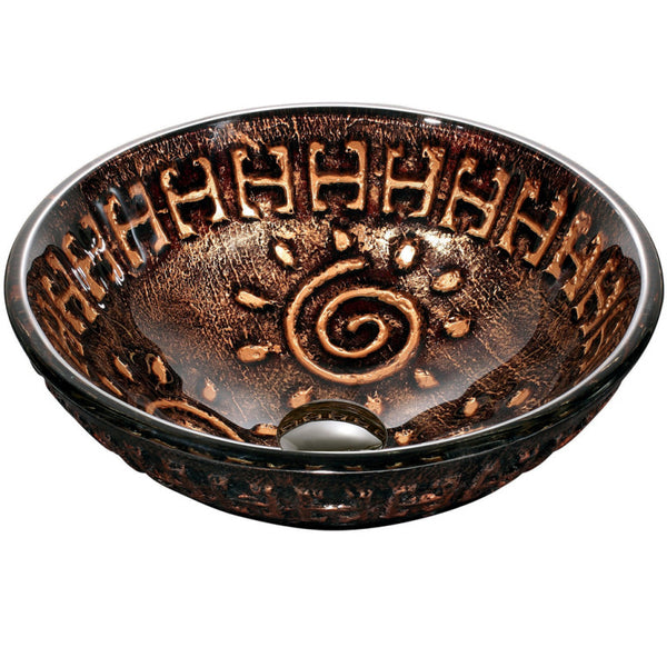 "Dawn 16"" Tempered glass, hand-painted glass vessel sink-Round shape, Copper and Gold GVB86153"