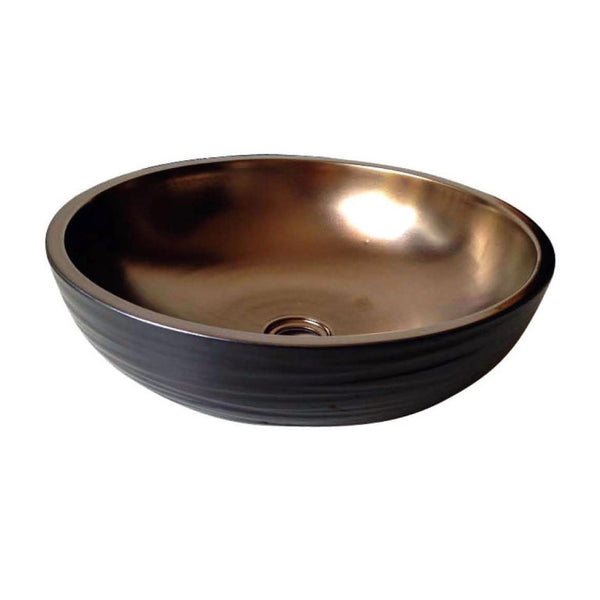 "Dawn 16"" Ceramic, hand engraved and hand-painted vessel sink-Round shape GVB87005"