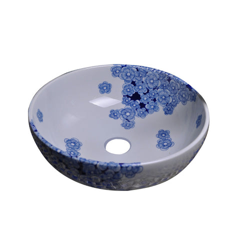 "Ceramic Vessel Sink, 16"", Blue & White, Round, Hand-Painted, Dawn, GVB87024 - Showroom Sinks"