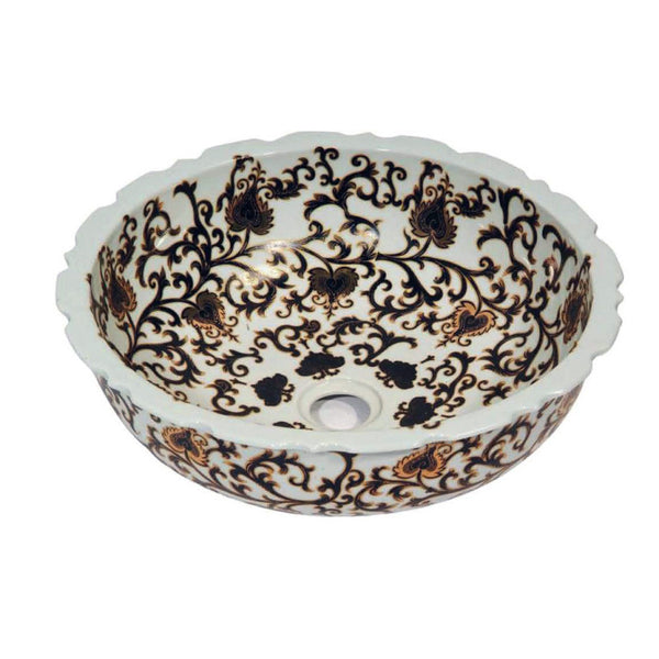 "Dawn 16"" Ceramic, hand engraved and hand-painted vessel sink-Round shape GVB87388"