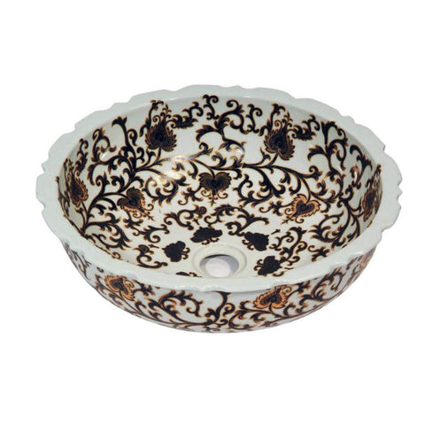 "Ceramic Vessel Sink, 16"", Round, Hand Engraved & Hand-Painted, Dawn, GVB87388 - Showroom Sinks"