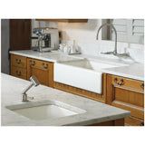 "Kohler Dickinson 33"" apron-front, under-mount single-bowl kitchen sink with 4 oversize faucet holes - White K-6546-4U-4"