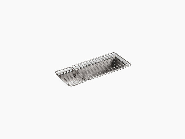 "Kohler Undertone K-3154-NA, 22"" Undermount Single Bowl Trough Stainless Steel Kitchen Sink with Wire Basket and Wire Rack"