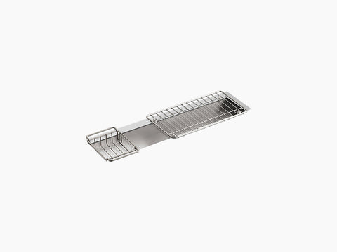 "Kohler Undertone K-3155-NA, 33"" Undermount Single Bowl Trough Stainless Steel Kitchen Sink with Wire Basket and Wire Rack"