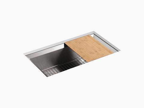 "Kohler Poise K-3158-NA, 33"" Undermount Single Bowl Stainless Steel Kitchen Sink with cutting board and bottom sink rack"