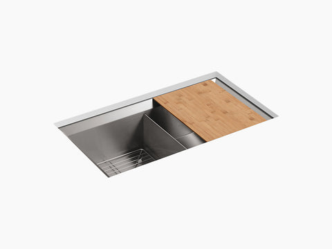 "Kohler Poise K-3159-NA, 33"" Double Equal, Undermount Stainless Steel Kitchen Sink with cutting board and bottom sink rack"