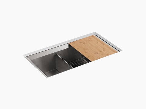 "Kohler Poise K-3160-NA, 33"" Double Bowl, large/medium Undermount Kitchen Sink with cutting board and bottom sink rack"