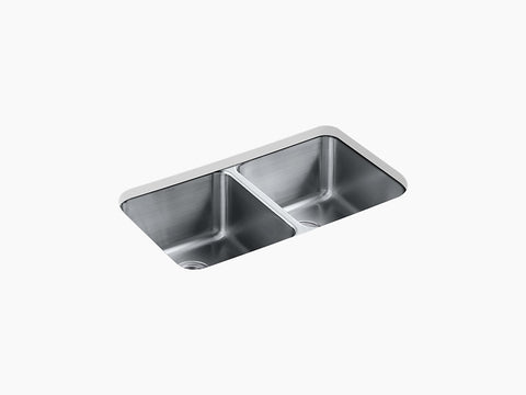 "Kohler K-3171-HCF-NA, Undertone 31-3/4"" Undermount, Double Equal Bowl Stainless Steel Kitchen Sink with 1 bottom sink rack"