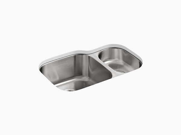 "Kohler Undertone K-3355-NA, 30-3/4"" High/low Double Rounded Bowl, Undermount, Stainless Steel Kitchen Sink"