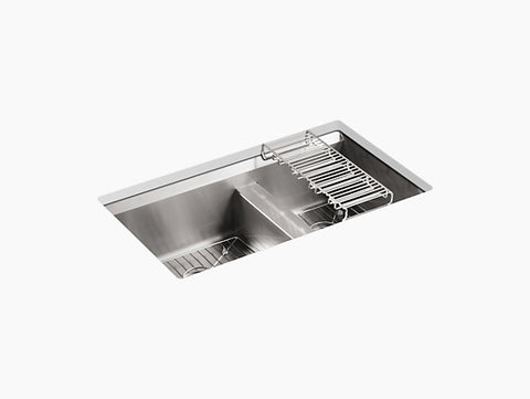 "Kohler 8 Degree K-3672-NA, 33"" Large/Medium Double Bowl, Undermount Stainless Steel Kitchen Sink with 2 bottom sink racks"