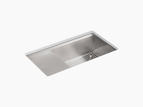 "Kohler Stages K-3760-NA, 33"" Undermount Single Bowl Stainless Steel Kitchen Sink with wet surface area"