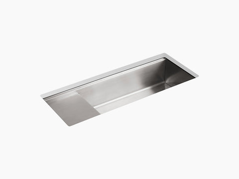 "Kohler Stages K-3761-NA, 45"" Undermount Single Bowl Stainless Steel Kitchen Sink with wet surface area"