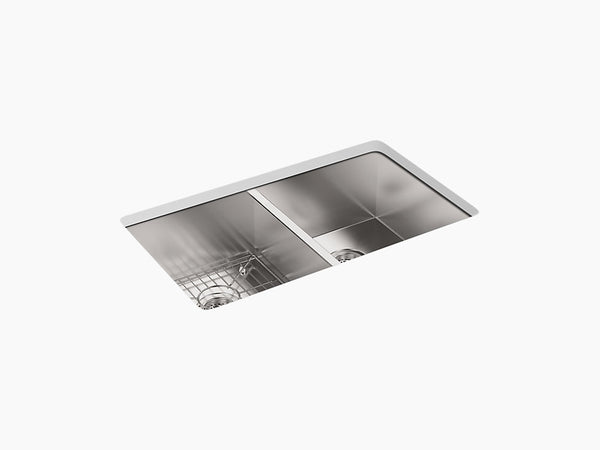 "Kohler Vault K-3820-1-NA, 33"" Dual Mount, Double-Equal Bowl Stainless Steel Kitchen Sink with single faucet hole"
