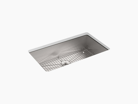 "Kohler Vault K-3821-4-NA, 33"" Dual Mount, Large Single Bowl Stainless Steel Kitchen Sink with 4 faucet holes and bottom sink rack"