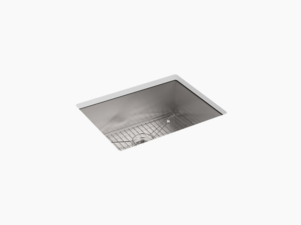 "Kohler Vault K-3822-4-NA, 25"" Dual Mount, Medium Single Bowl Stainless Steel Kitchen Sink with 4 faucet hole and bottom sink rack"