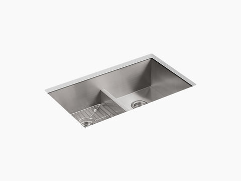 "Kohler Vault K-3838-4-NA, 33"" Smart Divide, Dual Mount, Double Equal Bowl Kitchen Sink with Four faucet hole"