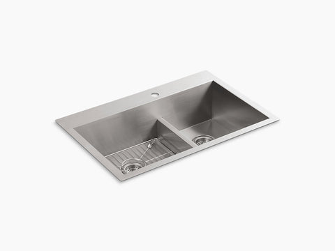 "Kohler Vault K-3839-1-NA, 33"" Smart Divide, Dual Mount, large/medium Double bowl Kitchen Sink with single faucet hole"