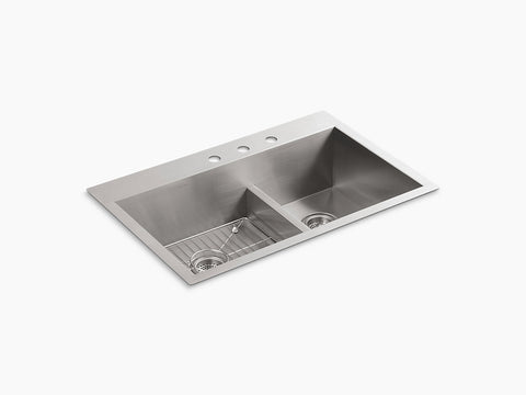 "Kohler Vault K-3839-3-NA, 33"" Smart Divide, Dual Mount, large/medium Double Bowl Stainless Steel Kitchen Sink with Three faucet hole"