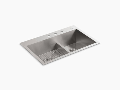 "Kohler Vault K-3839-4-NA, 33"" Smart Divide, Dual Mount, large/medium Double Bowl Kitchen Sink with Four faucet hole"