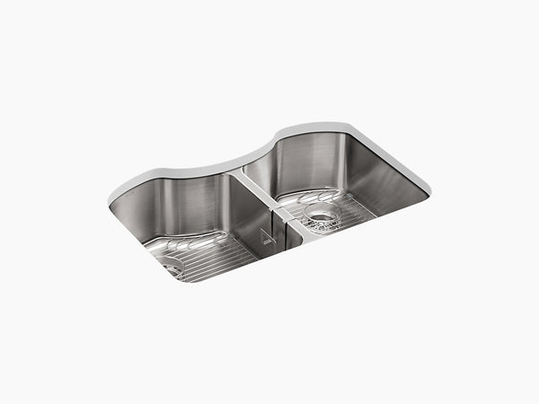 "Kohler Octave K-3843-NA, 32"" Undermount Double Equal Bowl Stainless Steel Kitchen Sink with 2 bottom sink racks and sponge caddy"