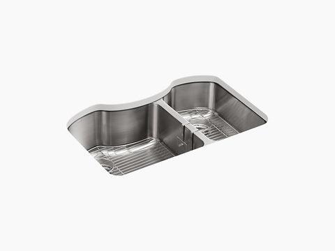 "Kohler Octave K-3845-NA, 32"" Undermount Double Bowl, large/medium Stainless Steel Kitchen Sink with 2 bottom sink racks and sponge caddy"