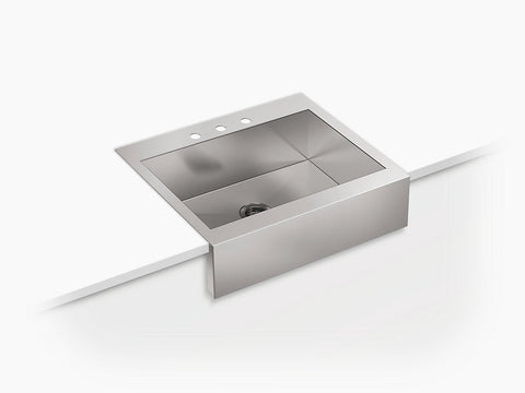 Kohler Vault K-3935-3-NA,  29-3/4 Stainless Farmhouse Sink, Single Bowl, Top-Mount, With Shortened Apron, 3 faucet holes