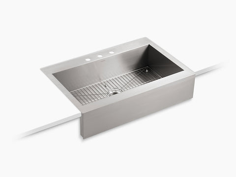"Kohler Vault, 35-3/4"" Stainless Steel Apron-front Kitchen Sink, Self-Trimming, Single-bowl, Top-mount, for 36"" cabinet, K-3942-3-NA"