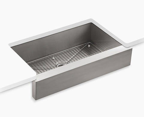 "Kohler Vault 35-1/2"" under-mount, single-bowl kitchen sink, stainless steel with short apron for 36"" cabinet, K-3943-NA"