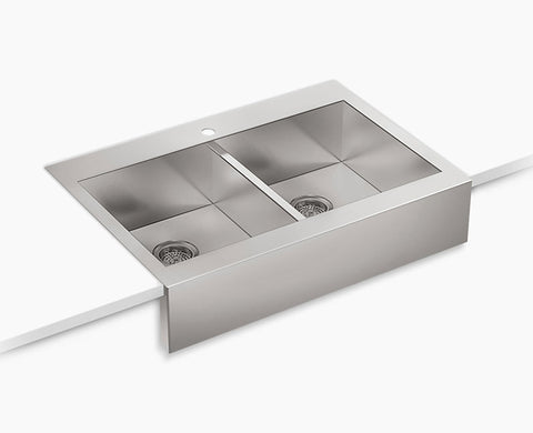 "Kohler Vault 35-3/4"" Self-Trimming, Top-mount, Double-equal Stainless Steel Apron-front Kitchen Sink for 36"" cabinet, K-3944"