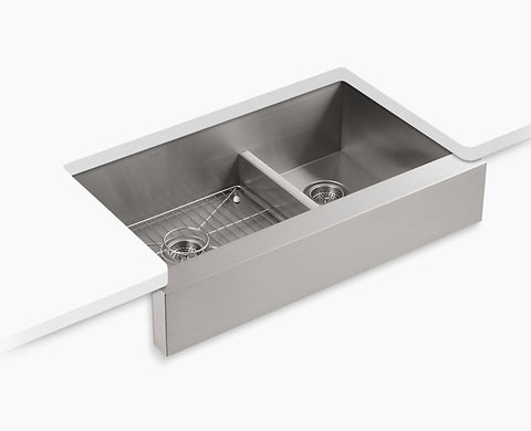 "Kohler Vault 35-1/2"" Under-mount Smart Divide, Large/medium Double-bowl Kitchen Sink, Stainless Steel with short apron for 36"" cabinet, K-3945-NA"