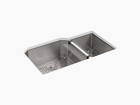 "Kohler Strive K-5282-NA, 35-1/2"" Extra large/medium Double Bowl, Undermount Stainless Steel Kitchen Sink with sink rack"