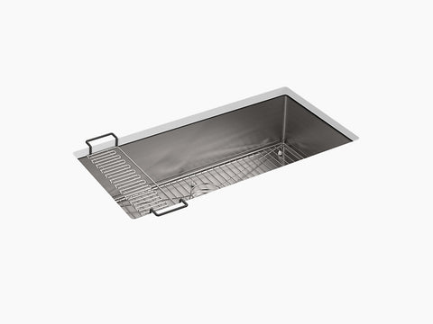 "Kohler Strive K-5283-NA, 35"" Undermount Extra large Single Bowl Stainless Steel Kitchen Sink with Sink Rack"