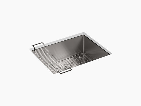 "Kohler Strive K-5286-NA, 24"" Undermount, Single Bowl Stainless Steel Kitchen Sink with sink rack"