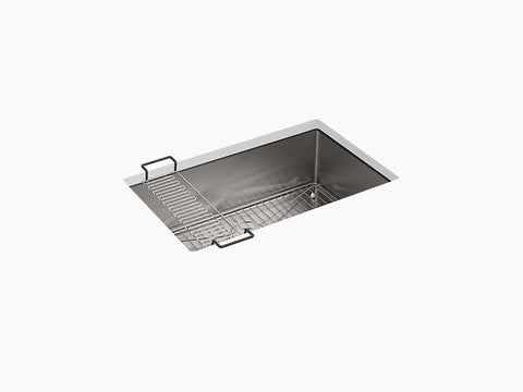 "Kohler Strive K-5409-NA, 29"" Undermount Medium Single Bowl Kitchen Sink with sink Rack"