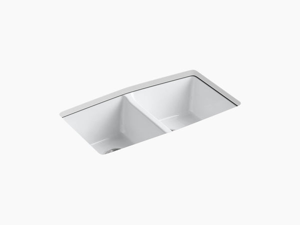"Kohler K-5846-5U Brookfield, 33"" Cast Iron Kitchen Sink, Undermount Double-Equal Kitchen Sink with 5 faucet holes"