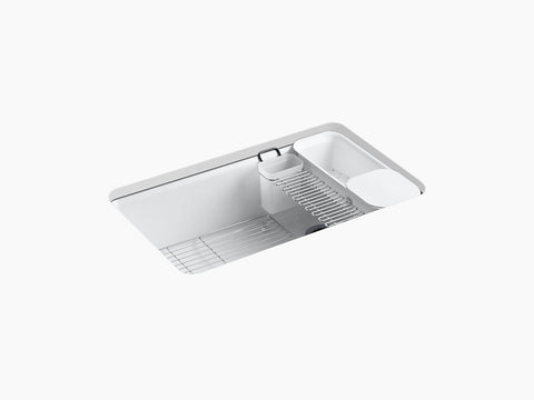 "Kohler K-5871-5UA3 Riverby, 33"" Cast Iron Farmhouse Sink, Undermount, Single Bowl Kitchen Sink with Accessories"