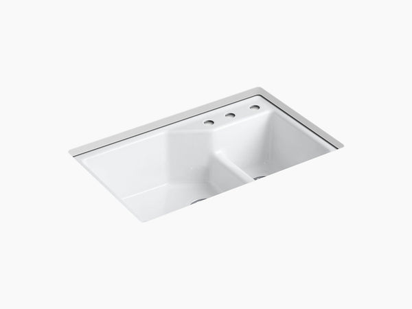 "Kohler K-6411-3 Indio, 33"" Cast Iron, Smart Divide large/small double-bowl Kitchen Sink with Three-hole Faucet Holes"