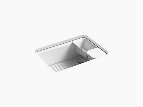 "Kohler K-8668-5UA2 Riverby, 27"" Cast Iron Undermount Kitchen Sink, Single-bowl with Accessories and 5 oversized faucet holes"