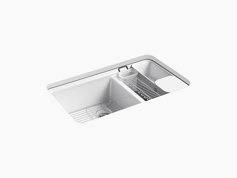 "Kohler K-8669-5UA3 Riverby, 33"" Cast Iron Undermount Double Bowl Kitchen Sink with Accessories and 5 oversized faucet holes"