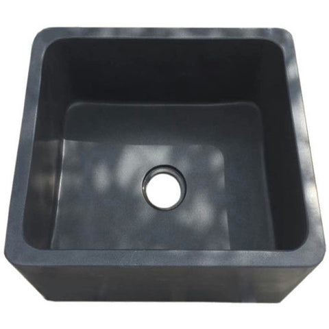 "Allstone Group 17"" Black Lava Reversible Farmhouse Kitchen Sink KF171710-BL"