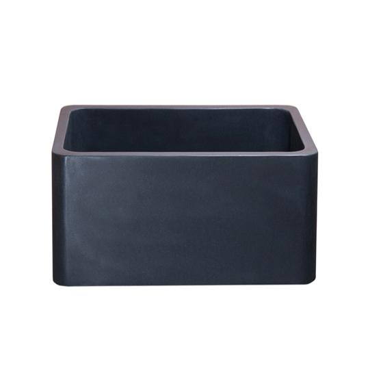 "Stone Farmhouse Sink, 17"", Black Lava, Reversible, Single Bowl, Allstone Group, KF171710-BL"