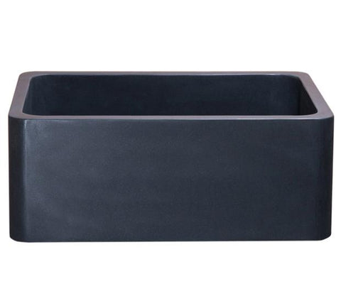 "Stone Farmhouse Sink, 24"", Black Lava, Reversible, Single Bowl, Allstone Group, KF242010-BL"